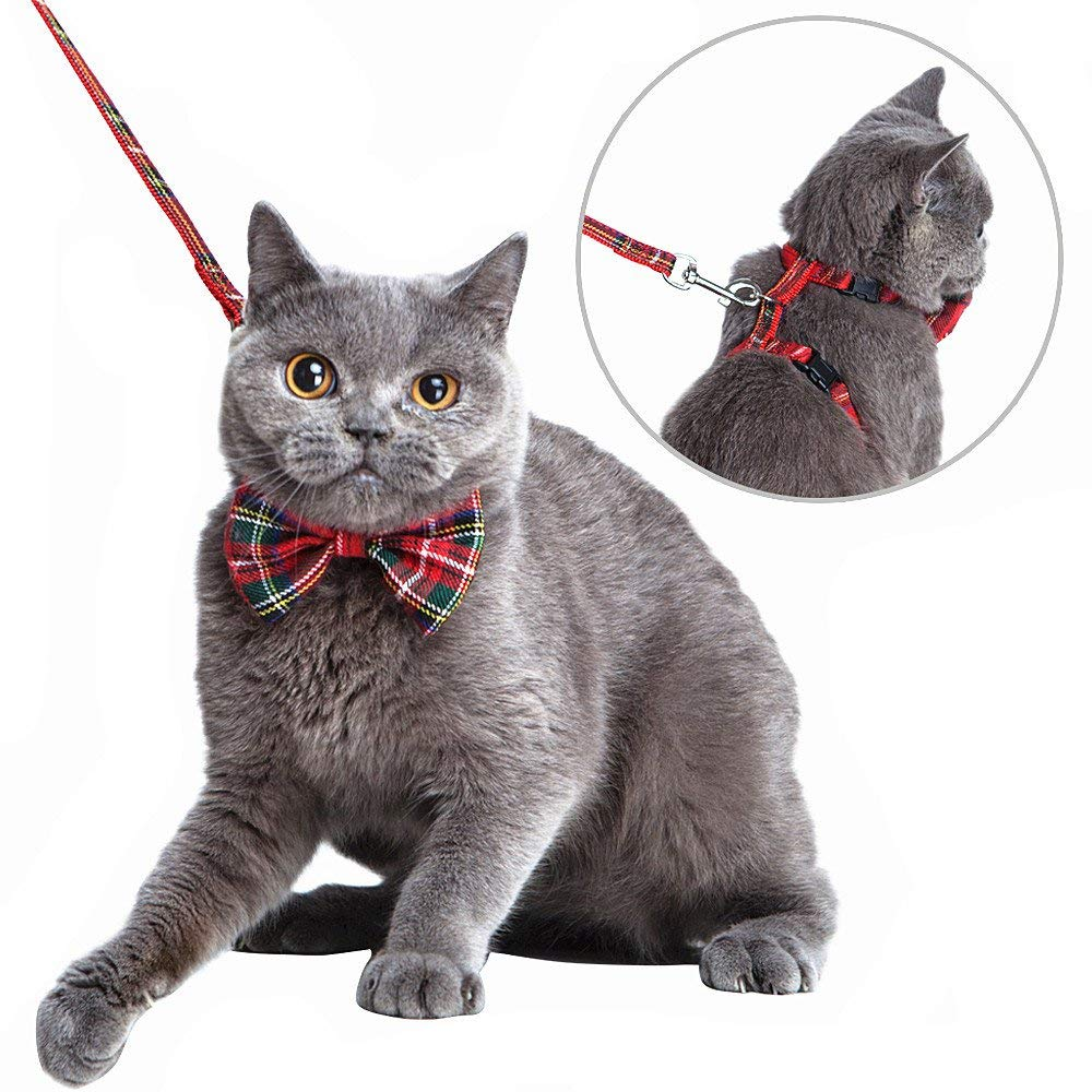 Mihachi Cat Harness Adjustable with Removable Bowtie-for Kitty