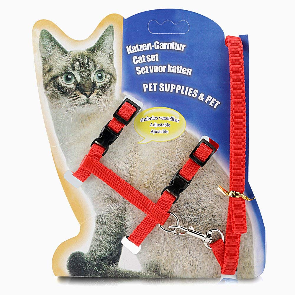 ONSON Cat Harness, Adjustable Harness Nylon Strap Collar with Leash, Cat Leash and Harness Set, for Cat and Small Pet Walking