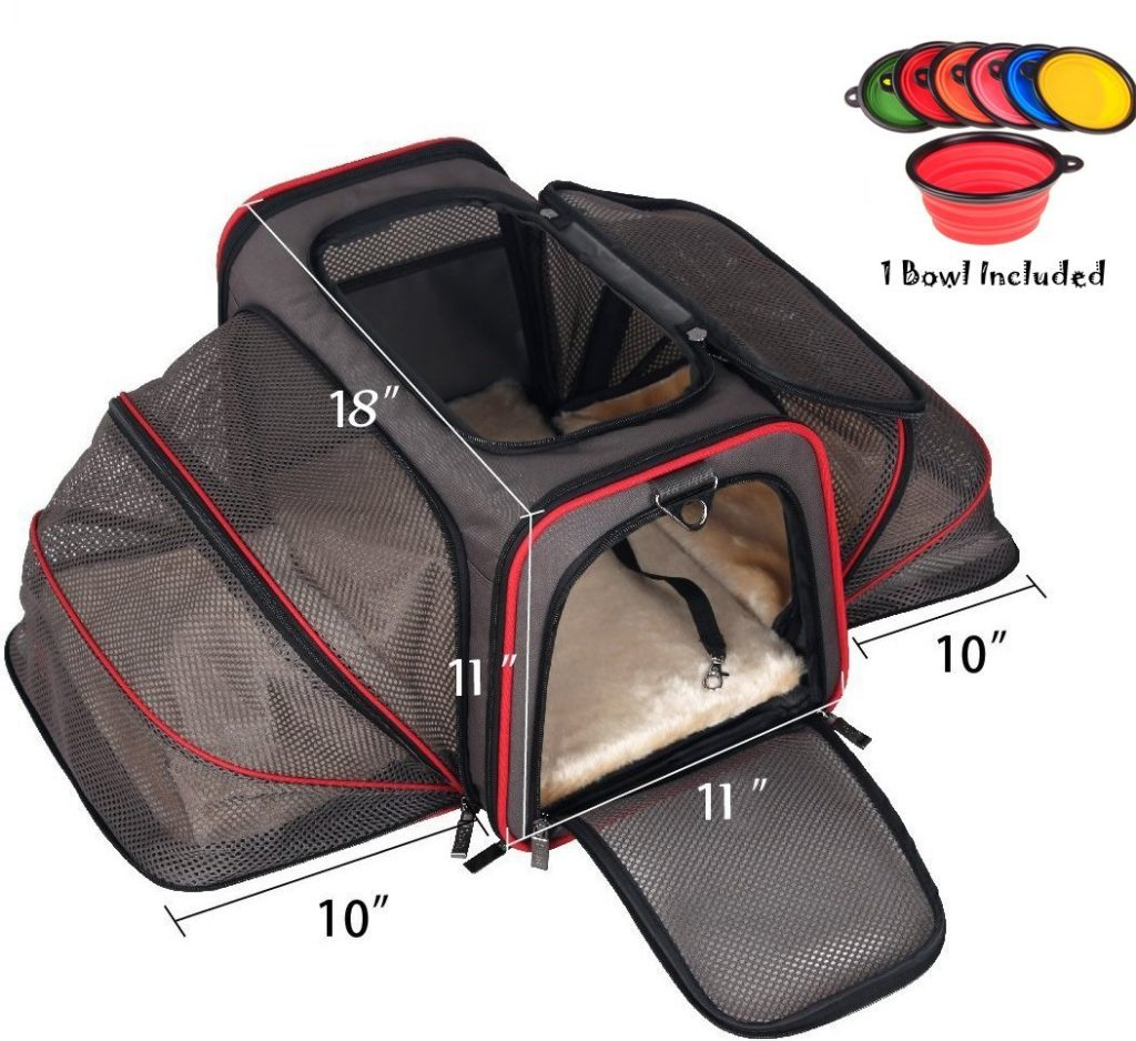 Premium Airline Approved Expandable Cat Carrier by Pet Peppy