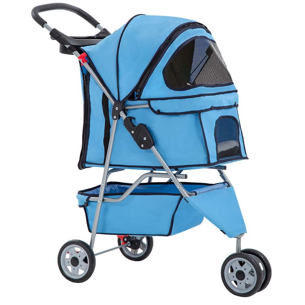 Cat Dog Cage 3 Wheels Stroller BestPet T13